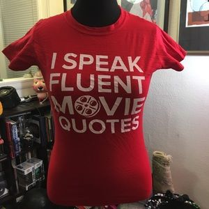 "Tops - NWOT 🎥 fun graphic ""movie quotes"" tee M"